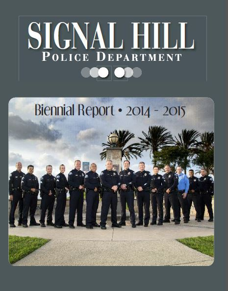The cover of the 2015-2016 Biennial Report featuring officers posing